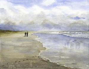 "Stormy Beach Walk Limited Edition Giclée Print 19.5""x17"" £55"